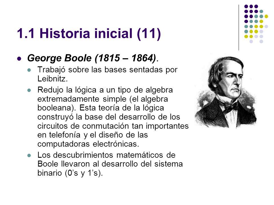 1.1 Historia inicial (11) George Boole (1815 – 1864).