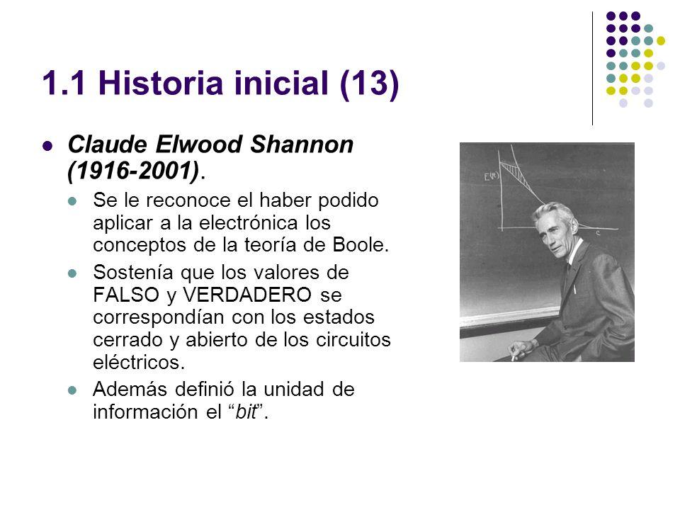 1.1 Historia inicial (13) Claude Elwood Shannon (1916-2001).