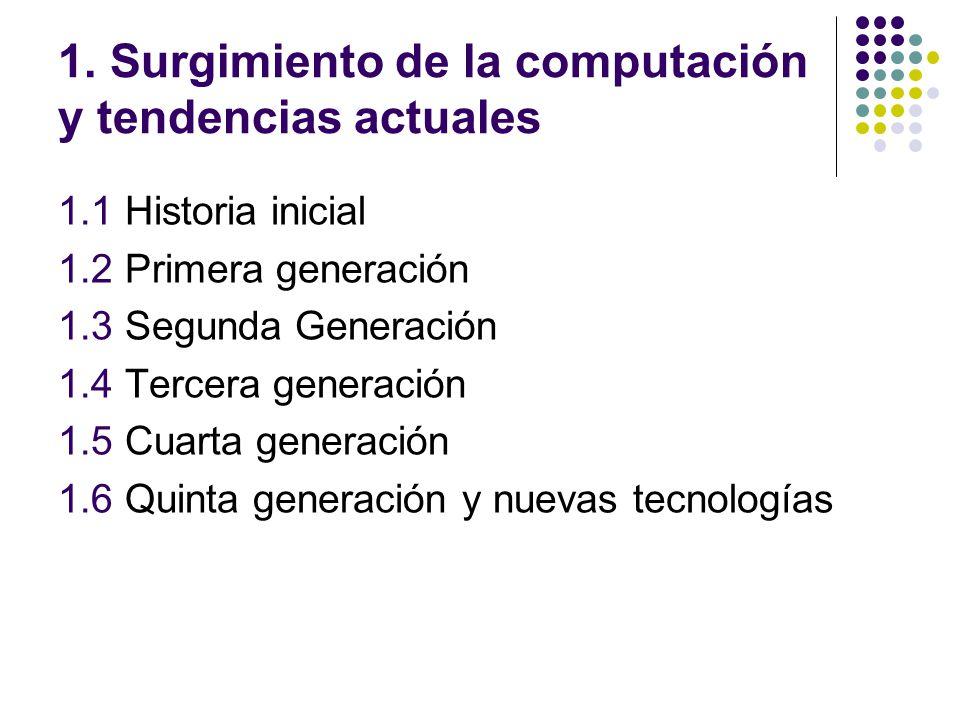 1. Surgimiento de la computación y tendencias actuales