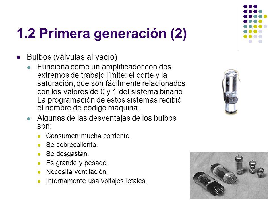 1.2 Primera generación (2) Bulbos (válvulas al vacío)