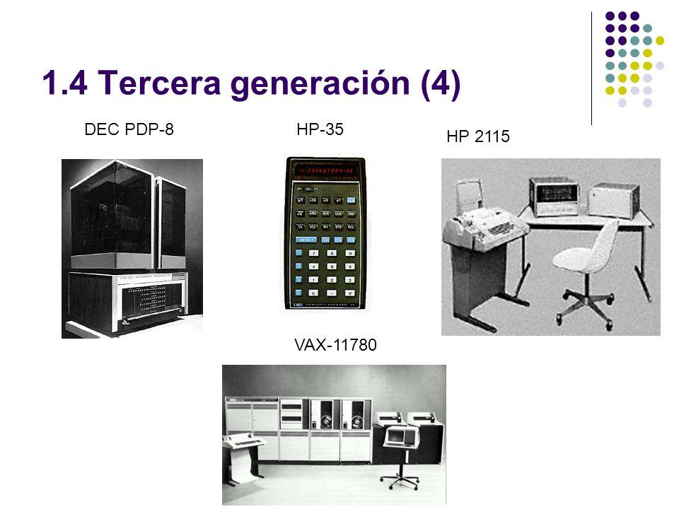 1.4 Tercera generación (4) DEC PDP-8 HP-35 HP 2115 VAX-11780