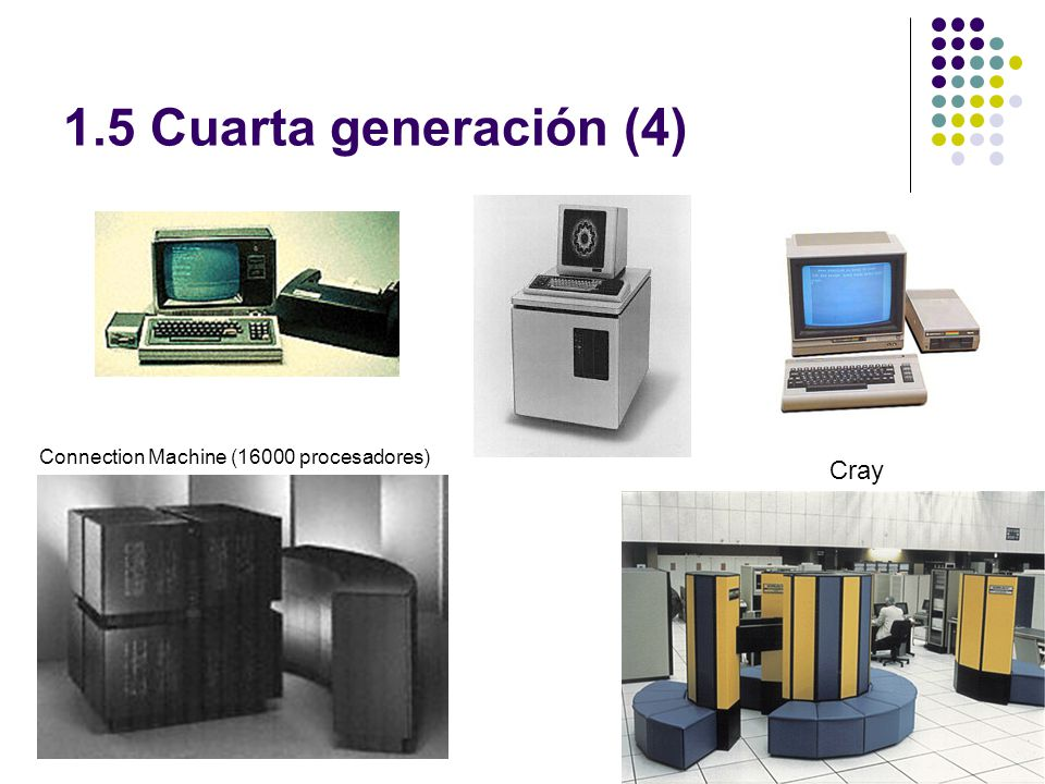 1.5 Cuarta generación (4) Connection Machine (16000 procesadores) Cray