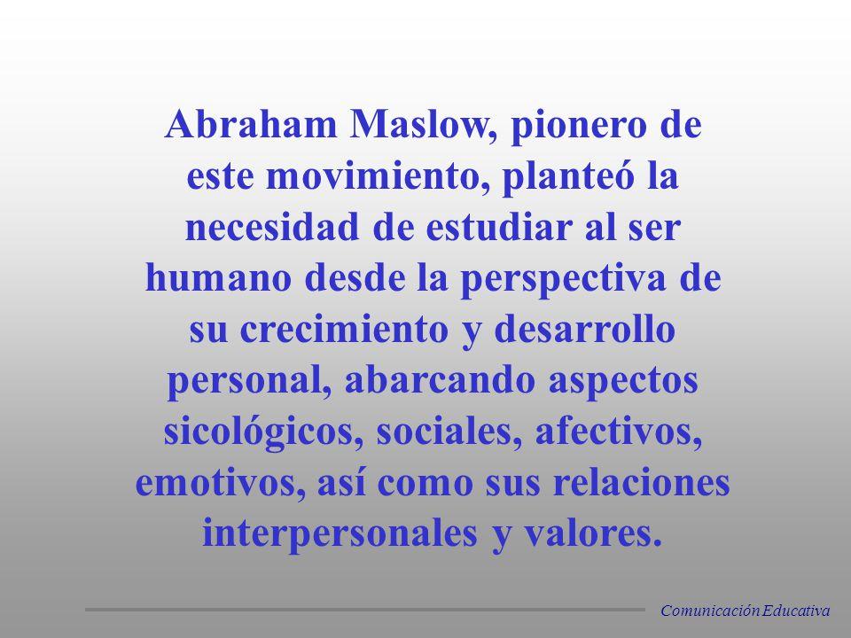 Abraham Maslow, pionero de este movimiento, planteó la necesidad de estudiar al ser humano desde la perspectiva de su crecimiento y desarrollo personal, abarcando aspectos sicológicos, sociales, afectivos, emotivos, así como sus relaciones interpersonales y valores.