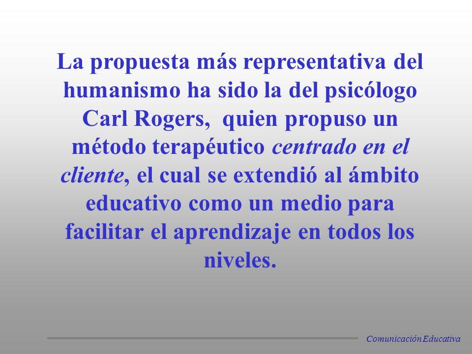 La propuesta más representativa del humanismo ha sido la del psicólogo Carl Rogers, quien propuso un método terapéutico centrado en el cliente, el cual se extendió al ámbito educativo como un medio para facilitar el aprendizaje en todos los niveles.