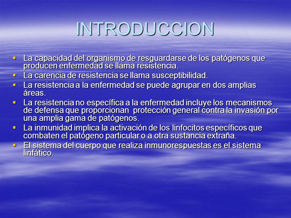 INTRODUCCION La capacidad del organismo de resguardarse de los patógenos que producen enfermedad se llama resistencia.