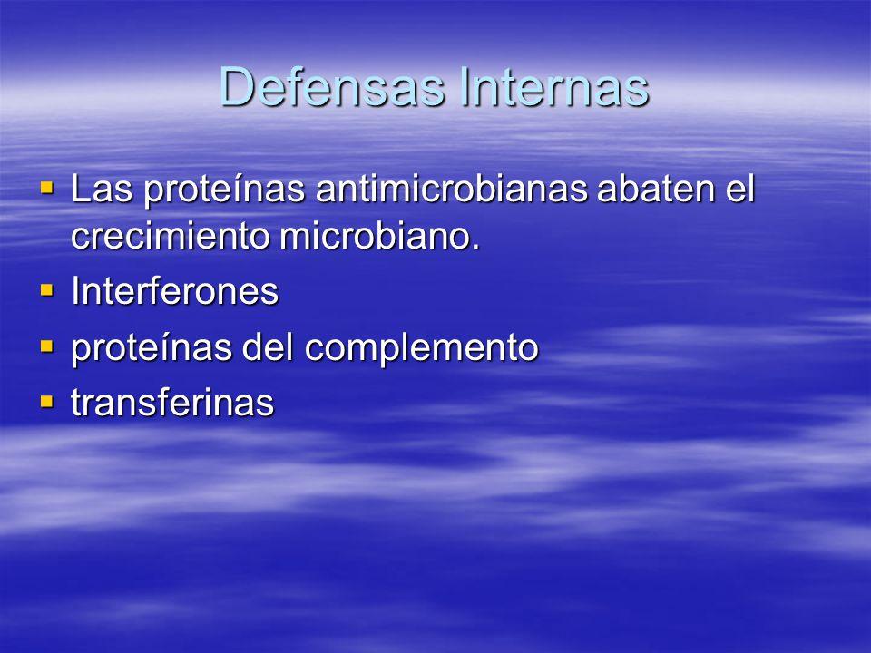 Defensas Internas Las proteínas antimicrobianas abaten el crecimiento microbiano. Interferones. proteínas del complemento.