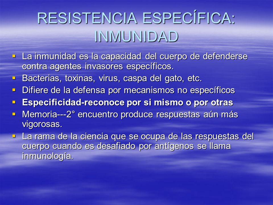 RESISTENCIA ESPECÍFICA: INMUNIDAD