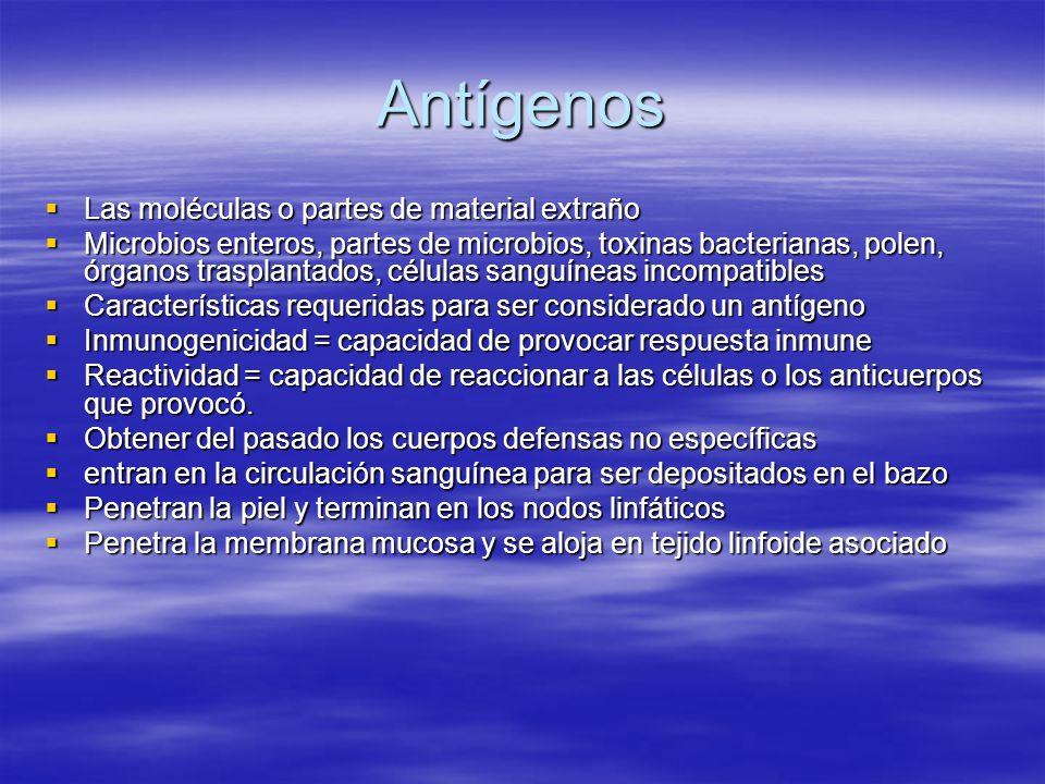 Antígenos Las moléculas o partes de material extraño