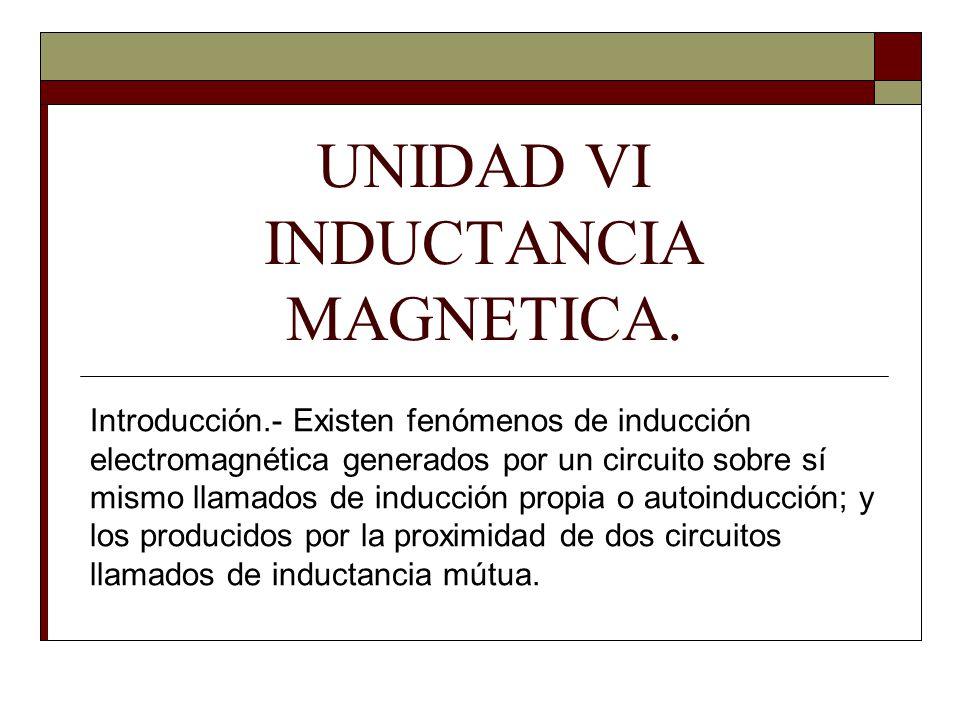 UNIDAD VI INDUCTANCIA MAGNETICA.