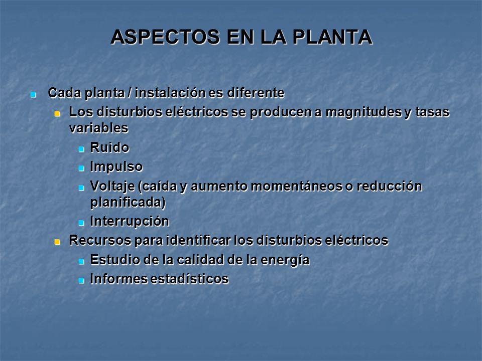 ASPECTOS EN LA PLANTA Cada planta / instalación es diferente