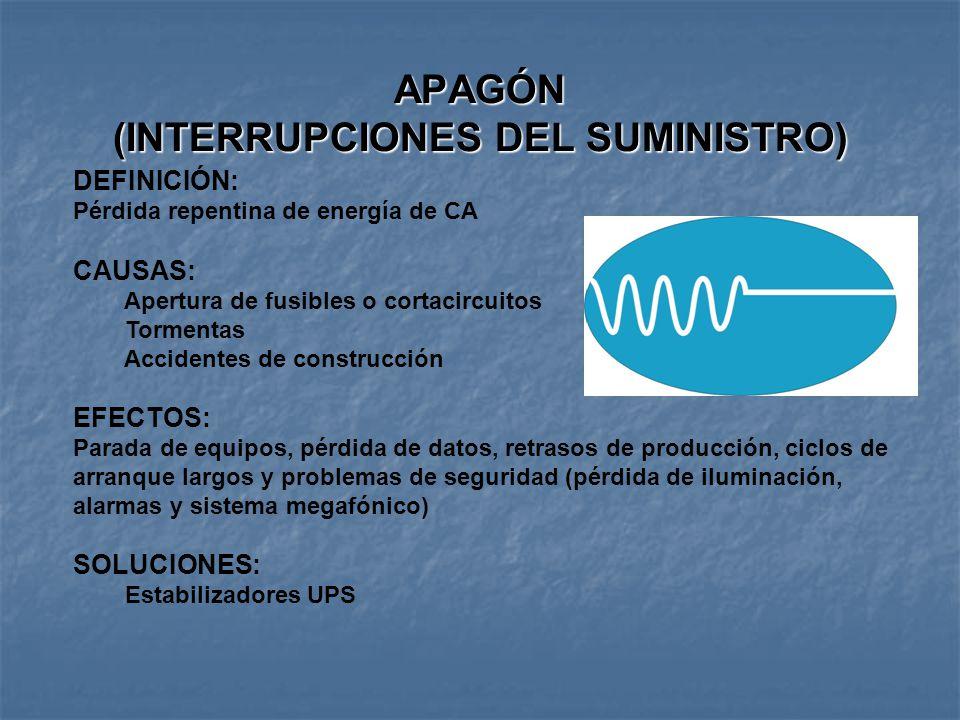 APAGÓN (INTERRUPCIONES DEL SUMINISTRO)