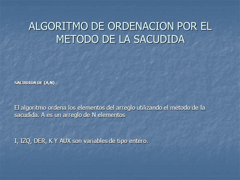 ALGORITMO DE ORDENACION POR EL METODO DE LA SACUDIDA