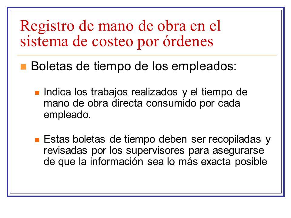 Registro de mano de obra en el sistema de costeo por órdenes