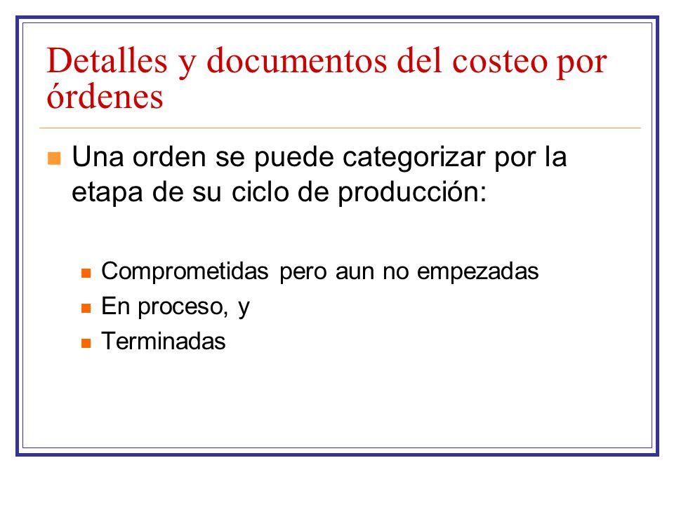 Detalles y documentos del costeo por órdenes