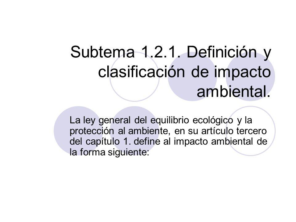 Subtema 1.2.1. Definición y clasificación de impacto ambiental.