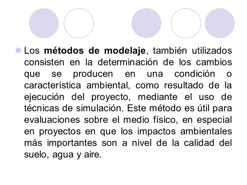 Los métodos de modelaje, también utilizados consisten en la determinación de los cambios que se producen en una condición o característica ambiental, como resultado de la ejecución del proyecto, mediante el uso de técnicas de simulación.