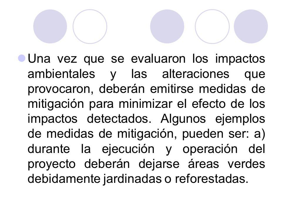 Una vez que se evaluaron los impactos ambientales y las alteraciones que provocaron, deberán emitirse medidas de mitigación para minimizar el efecto de los impactos detectados.