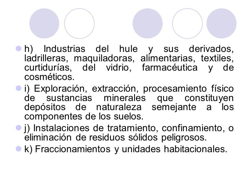 h) Industrias del hule y sus derivados, ladrilleras, maquiladoras, alimentarias, textiles, curtidurías, del vidrio, farmacéutica y de cosméticos.