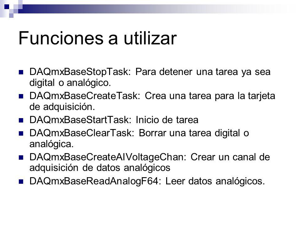 Funciones a utilizar DAQmxBaseStopTask: Para detener una tarea ya sea digital o analógico.