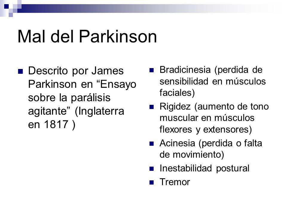 Mal del Parkinson Descrito por James Parkinson en Ensayo sobre la parálisis agitante (Inglaterra en 1817 )
