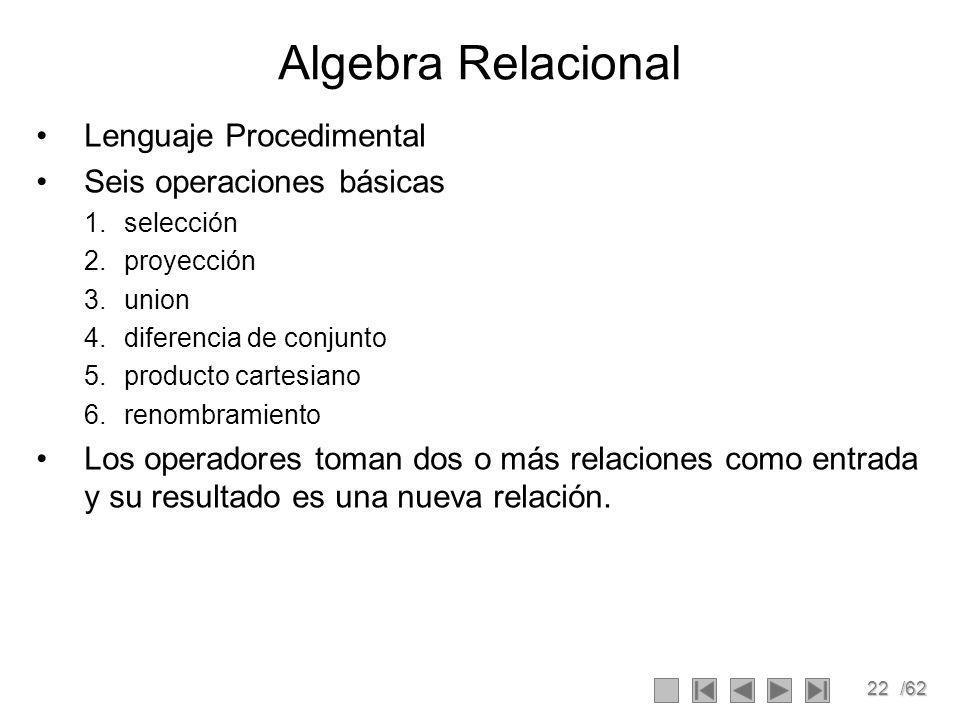 Algebra Relacional Lenguaje Procedimental Seis operaciones básicas