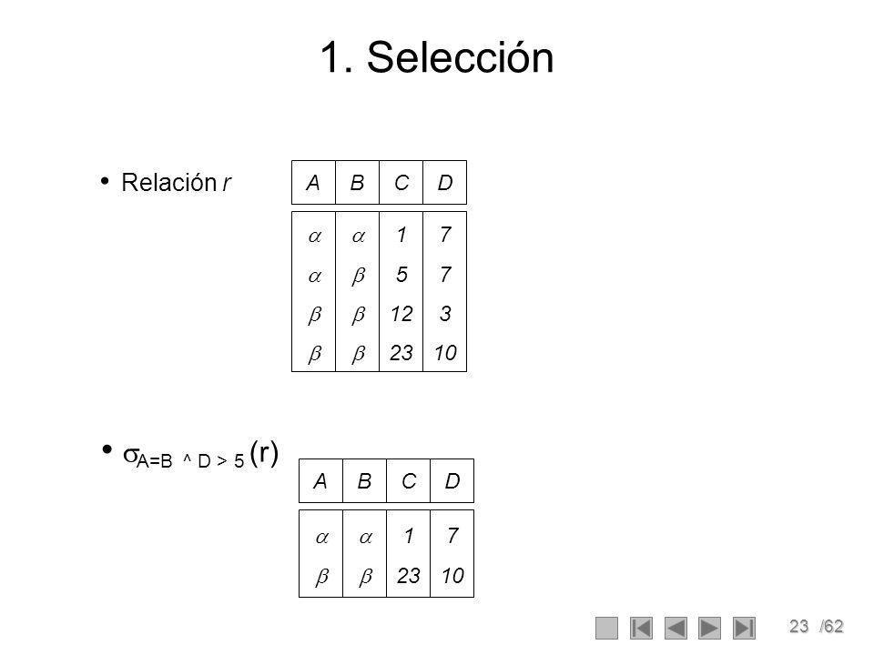 1. Selección A=B ^ D > 5 (r) Relación r A B C D     1 5 12 23