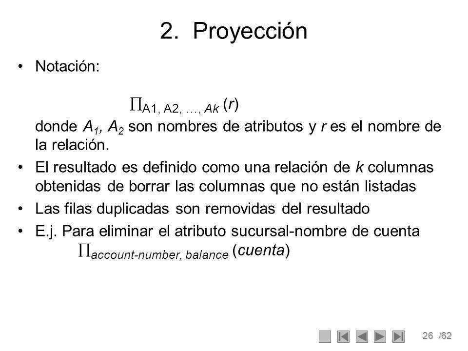 2. Proyección Notación: A1, A2, …, Ak (r)