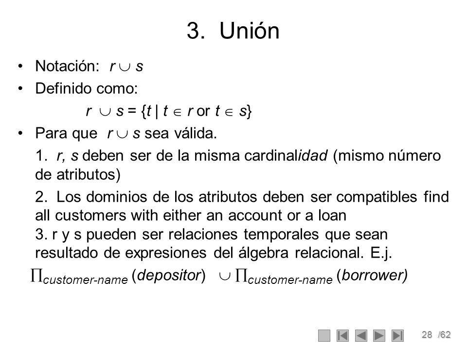 3. Unión Notación: r  s Definido como: r  s = {t | t  r or t  s}