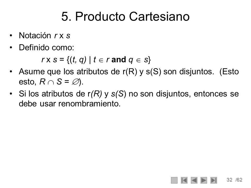 5. Producto Cartesiano Notación r x s Definido como: