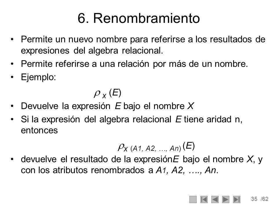 6. Renombramiento Permite un nuevo nombre para referirse a los resultados de expresiones del algebra relacional.