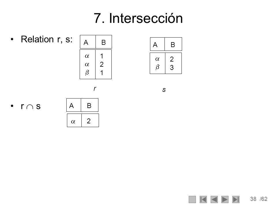 7. Intersección Relation r, s: r  s A B A B  1  2 2   3 r s A B