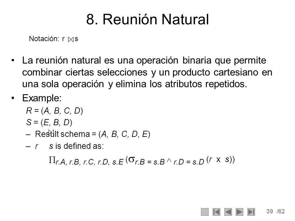 8. Reunión Natural Notación: r s.