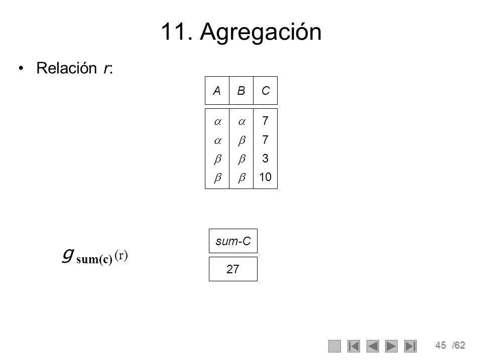 11. Agregación Relación r: A B C     7 3 10 sum-C g sum(c) (r) 27