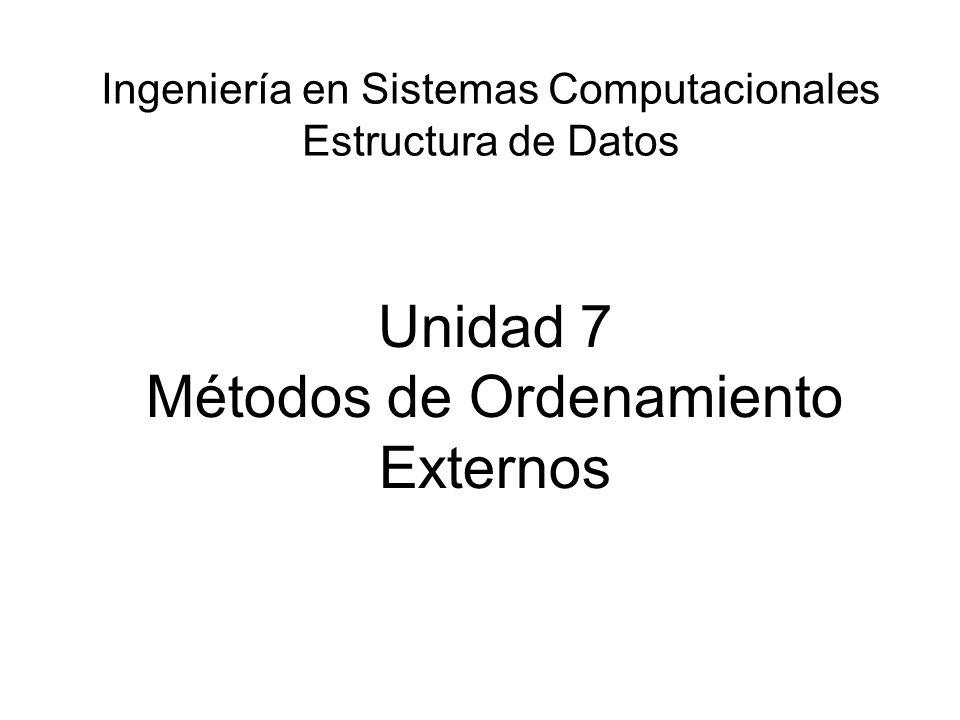 Unidad 7 Métodos de Ordenamiento Externos
