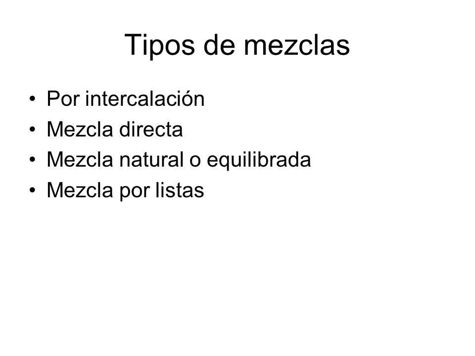 Tipos de mezclas Por intercalación Mezcla directa