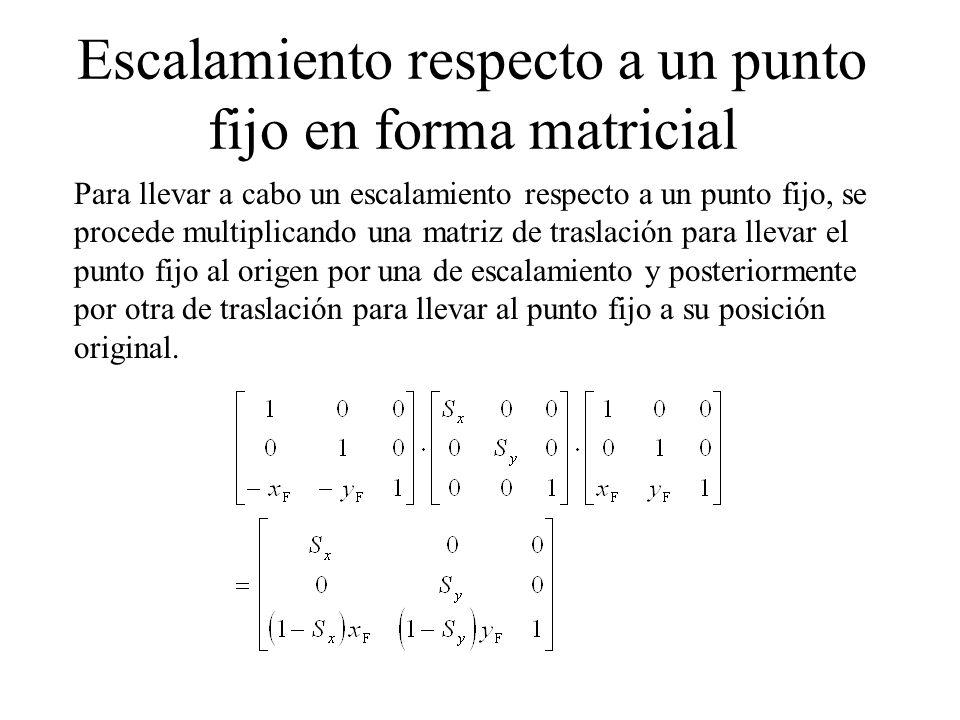 Escalamiento respecto a un punto fijo en forma matricial