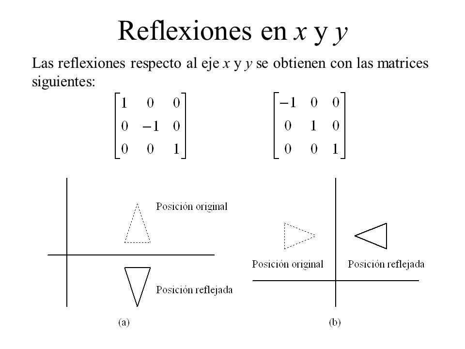 Reflexiones en x y y Las reflexiones respecto al eje x y y se obtienen con las matrices siguientes: