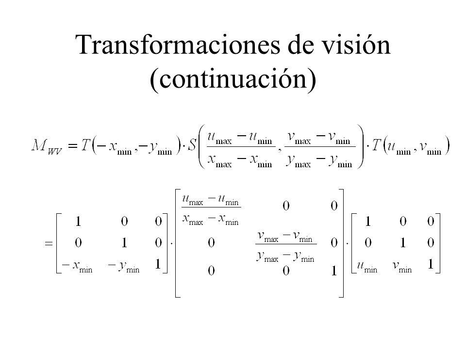 Transformaciones de visión (continuación)