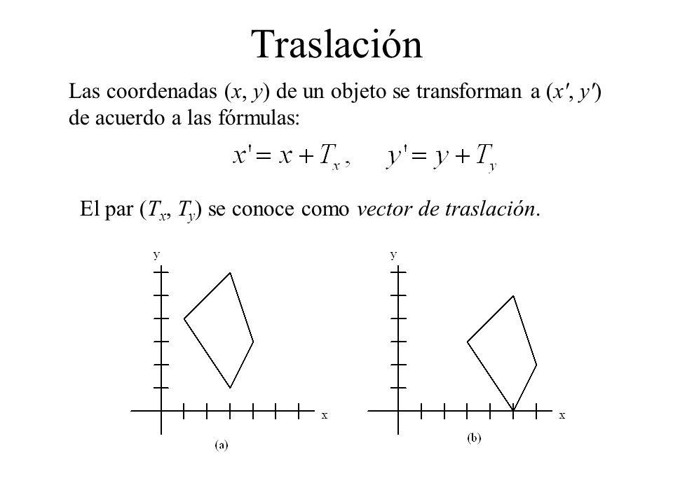 Traslación Las coordenadas (x, y) de un objeto se transforman a (x , y ) de acuerdo a las fórmulas:
