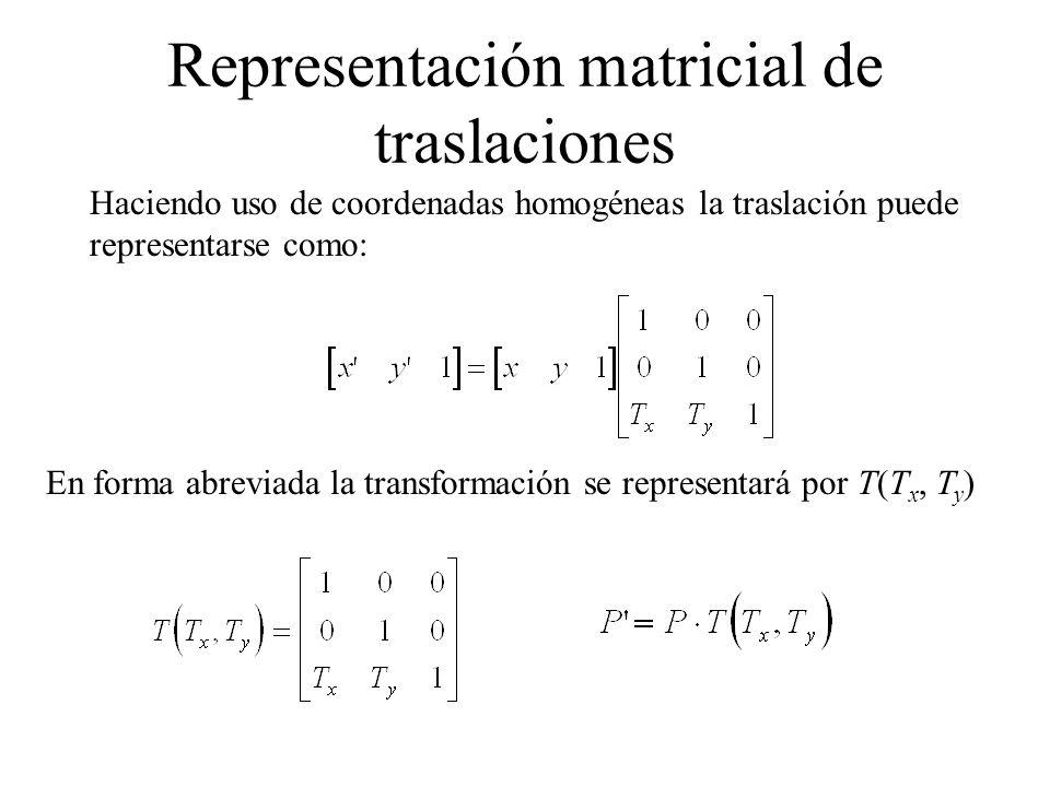 Representación matricial de traslaciones