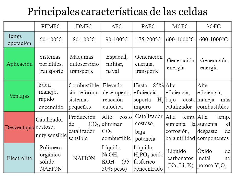 Principales características de las celdas