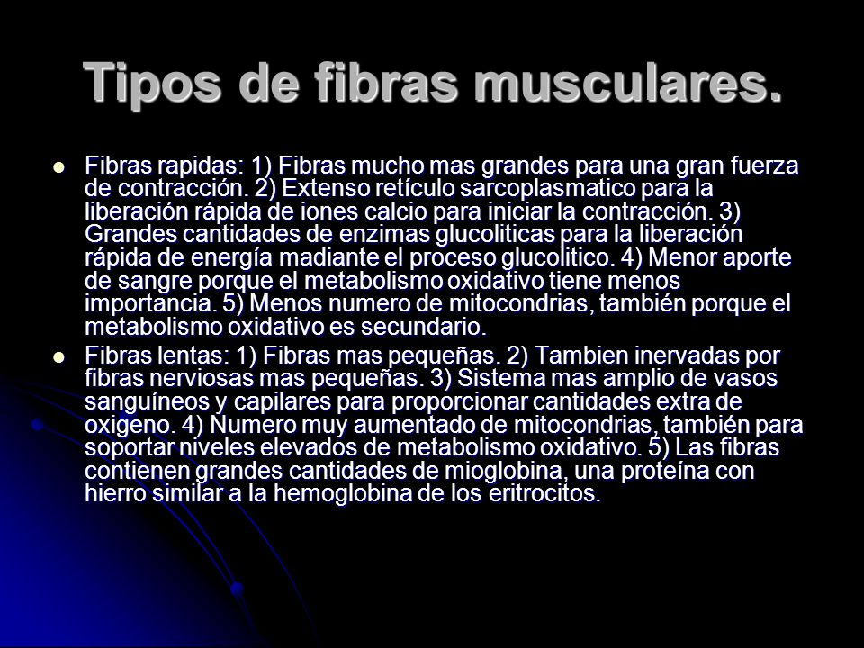 Tipos de fibras musculares.