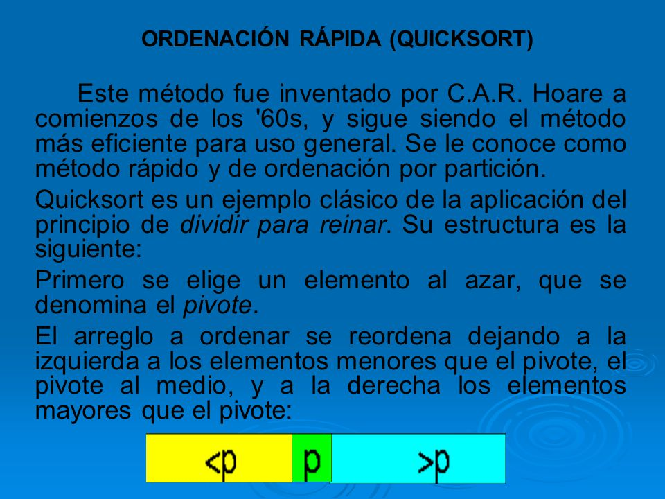 ORDENACIÓN RÁPIDA (QUICKSORT)