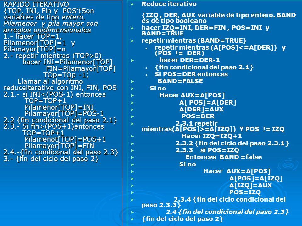 RAPIDO ITERATIVO {TOP, INI, Fin y POS'(Son variables de tipo entero