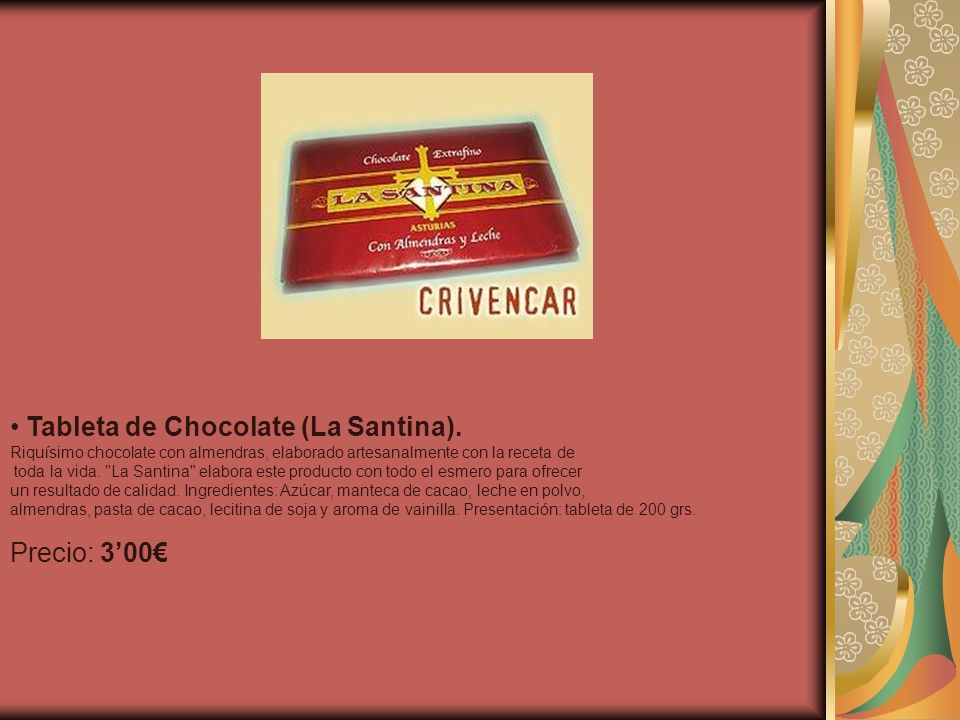 Tableta de Chocolate (La Santina).