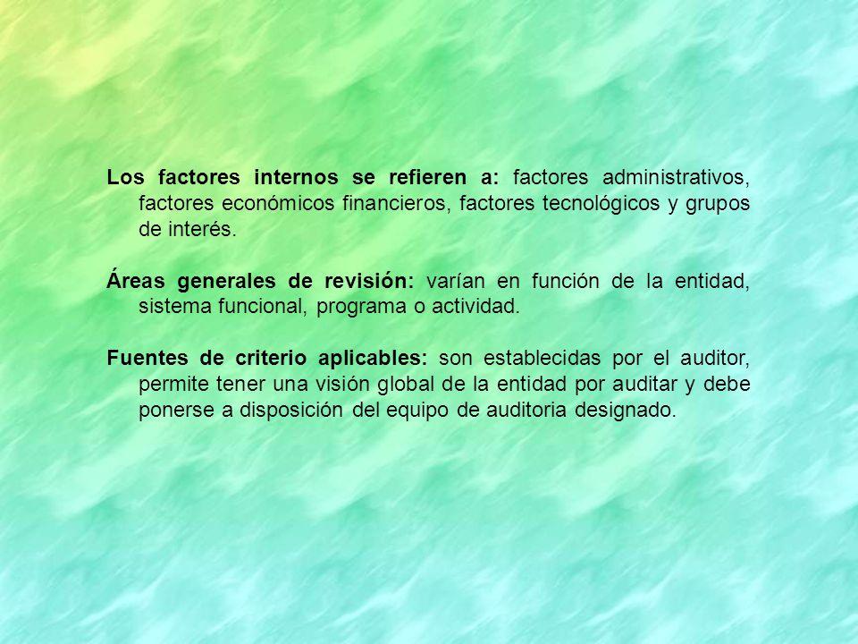 Los factores internos se refieren a: factores administrativos, factores económicos financieros, factores tecnológicos y grupos de interés.