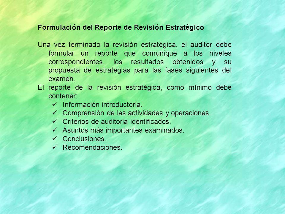 Formulación del Reporte de Revisión Estratégico
