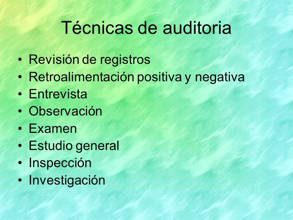 Técnicas de auditoria Revisión de registros
