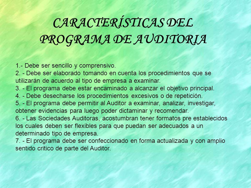 CARACTERÍSTICAS DEL PROGRAMA DE AUDITORIA