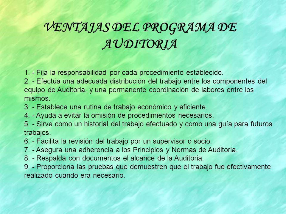 VENTAJAS DEL PROGRAMA DE AUDITORIA